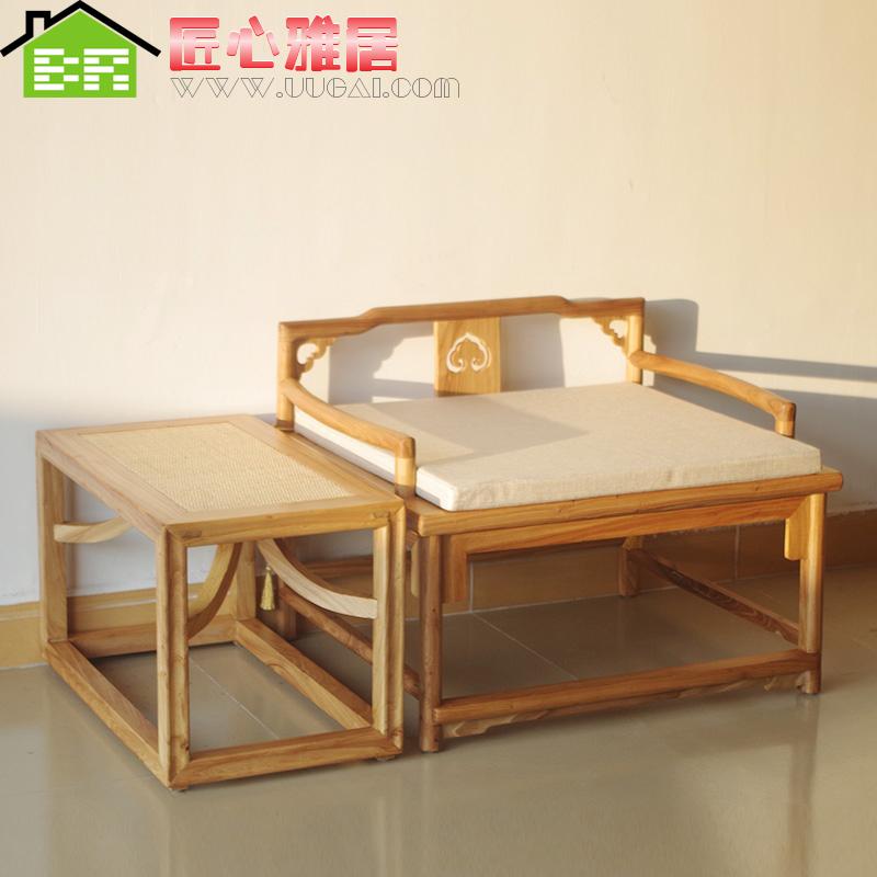 新中式禅意矮禅凳老榆木免漆打坐椅禅坐椅茶楼会所茶桌主椅禅修椅