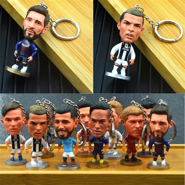 足球迷紀念品 尤文圖斯C羅梅西內馬爾鑰匙扣 公仔手辦玩偶人偶
