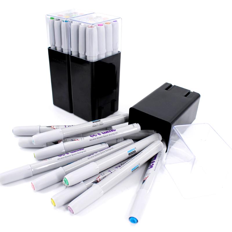 日本进口MARVY美辉软头马克笔套装绘画学生动漫学生用正品马克笔36色装24色48色72色礼盒套装全套168色