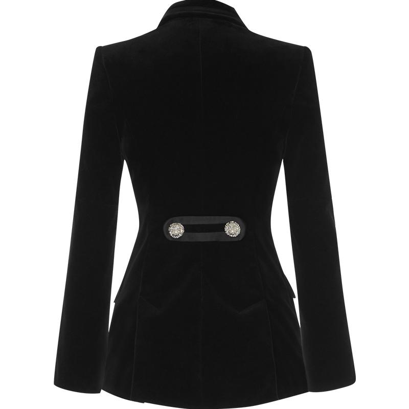 aui2020春秋新款女装职业气质小西服女上衣黑色丝绒收腰西装外套主图