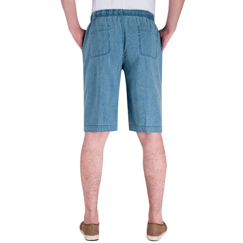 夏薄款中年棉麻七分大裤衩宽松大码老年人休闲加肥男七分裤亚麻裤
