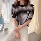 2020 summer new Korean version of small daisy striped embroidery t-shirt ice silk sweater leisure loose short-sleeved wild female thin