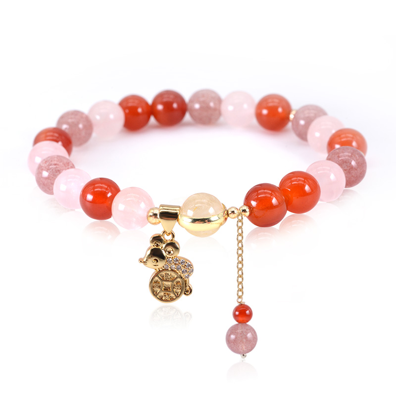 手链 招财地鼠 马达加斯加粉水晶招桃花草莓晶红玛瑙