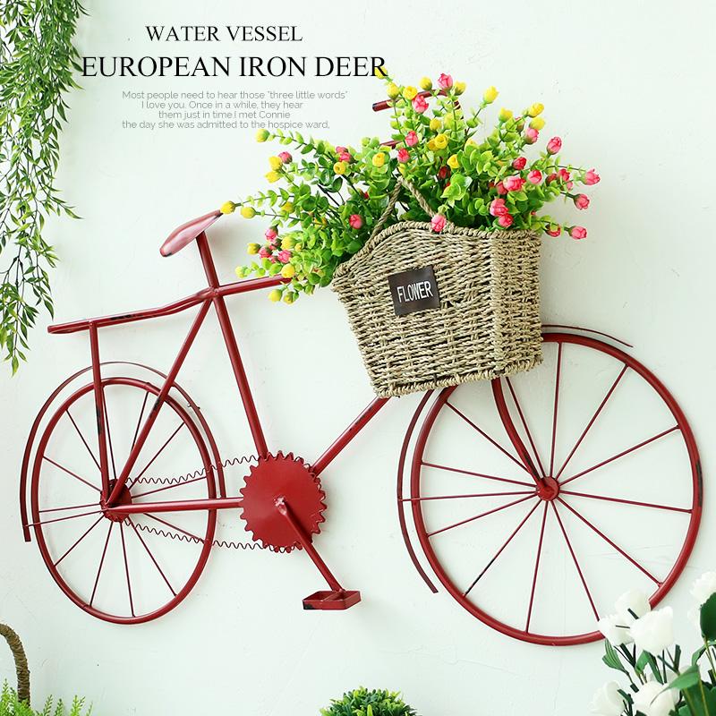 美式铁艺自行车壁挂花架咖啡厅酒吧家居装饰创意立体墙贴软装饰品