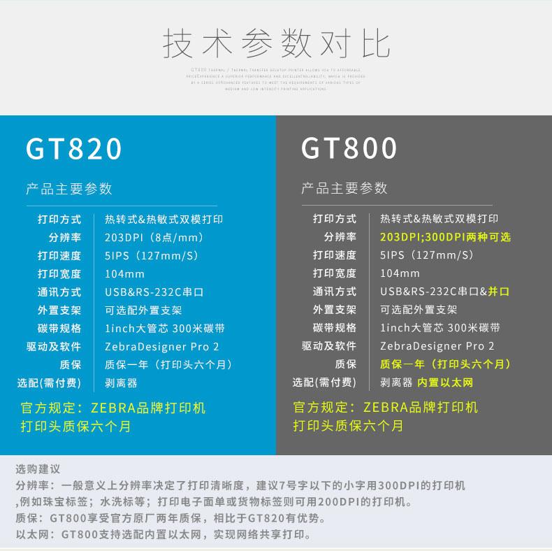 ZEBRA斑马GT800 820不干胶标签热敏碳带条码打印机快递电子面单高精300dpi 服装吊牌打单机价格标签机洗水唛