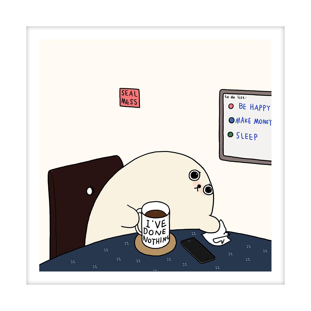 【王XX官方限量版画】小海豹系列|不开心