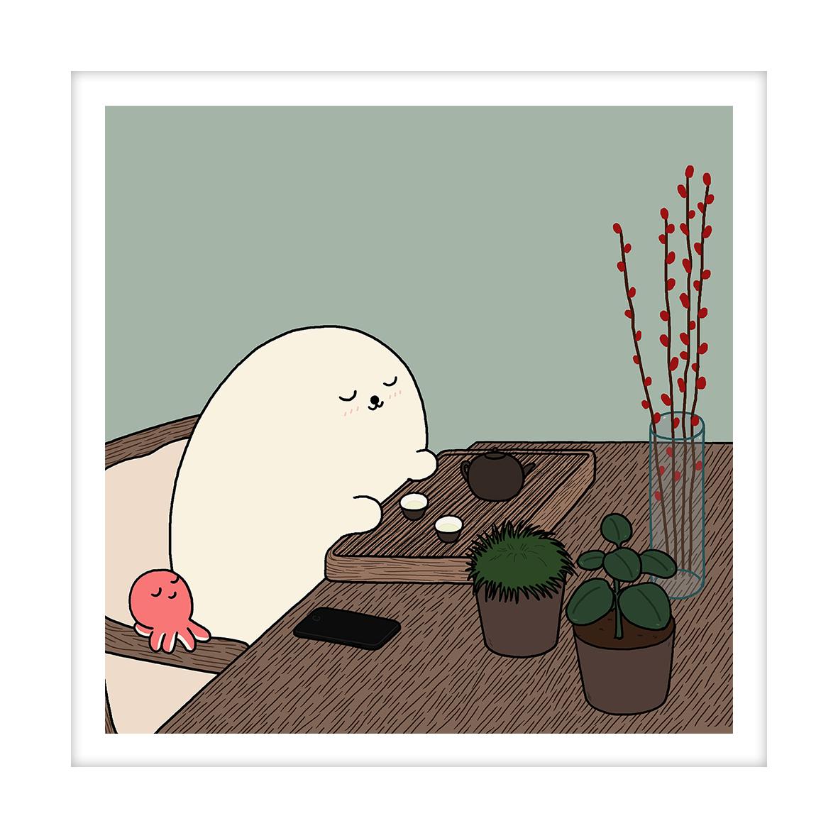 【王XX官方限量版画】小海豹系列|喝茶