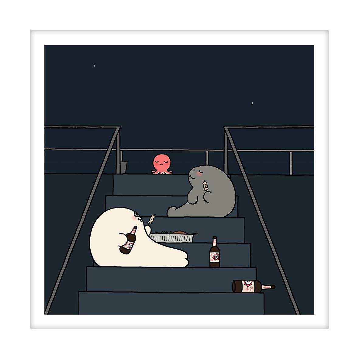 【王XX官方限量版画】小海豹系列|夏夜