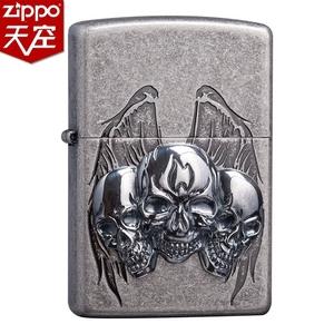 美國原裝正版zippo打火機 古銀 骷髏貼章翅膀 官方正品授權店