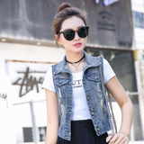 2020 spring Korean women's wild sleeveless denim vest vest female Xia Xin short thin jacket jacket
