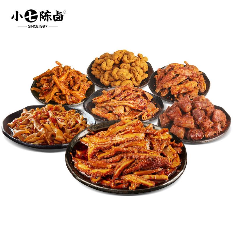 小七陈卤肉肉套餐585g香辣牛肚鸭脖零食送朋友家人卤味重庆辣卤