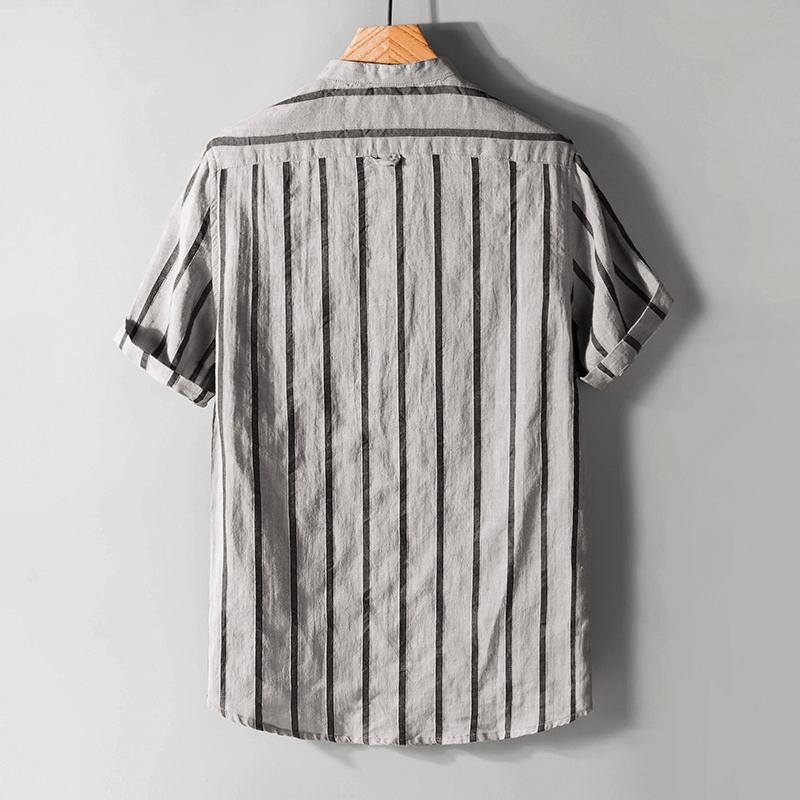 夏季薄款条纹亚麻衬衫男短袖宽松棉麻短袖衬衣男立领复古麻料上衣
