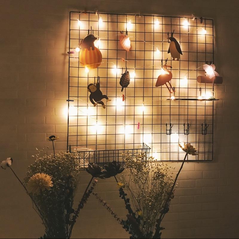 小清新铁艺网格照片墙背景置物架网片卧室客厅铁架相片墙装饰北欧