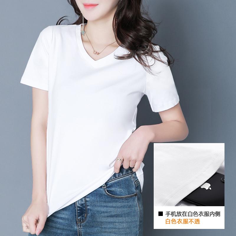 2019新款短袖t恤女士夏裝潮純色寬松體桖上衣體恤半袖大碼打底衫