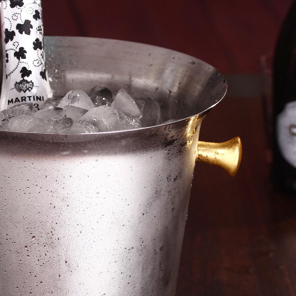 名器欧式香槟桶大号金耳5L酒桶香槟冰桶欧式加厚不锈钢冰桶香槟桶