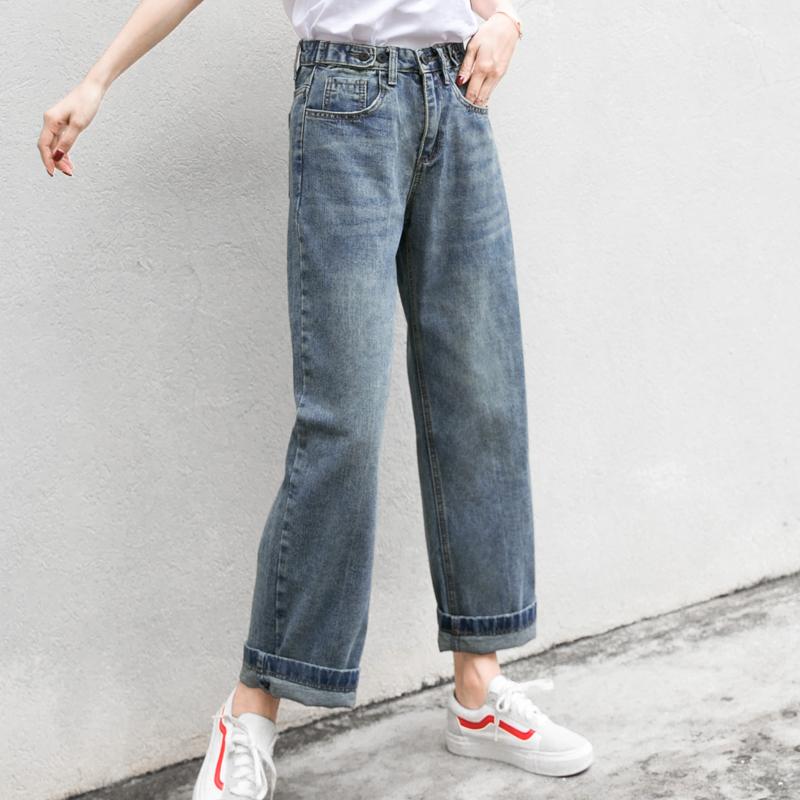 孜索2019春装新款女裤子宽松直筒裤高腰阔腿百搭牛仔裤韩版学生潮