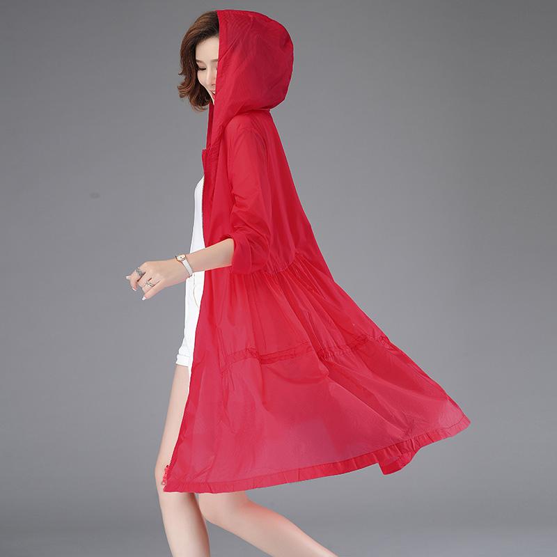 防曬衣女中長款長袖2020新款韓版夏季輕薄透氣連帽媽媽洋氣外套潮