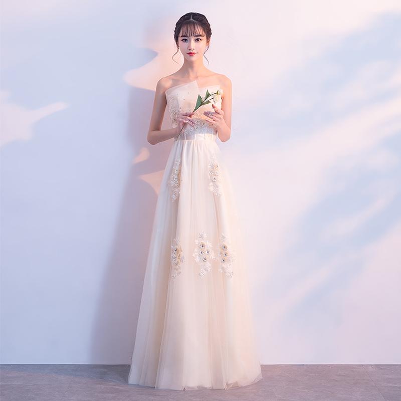 晚礼服2019新款女宴会高贵气质长款抹胸伴娘服主持人连衣裙夏季仙