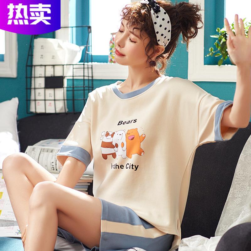 短袖睡衣女夏季纯棉韩版可爱薄款宽松短裤夏款夏天家居服两件套装