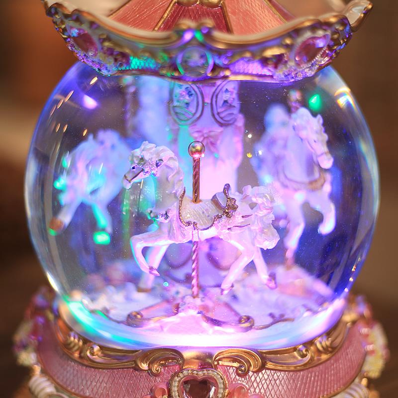大款发光水晶球旋转木马音乐盒八音盒摆件生日礼物送女生闺蜜儿童