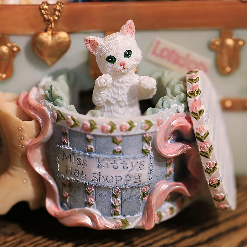 猫咪珠宝箱音乐盒八音盒复古创意精品生日礼物送男友女生儿童闺蜜