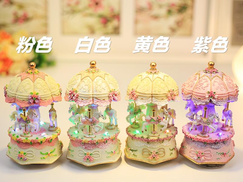 发光旋转木马音乐盒八音盒天空之城创意女生节生日礼物送女生儿童