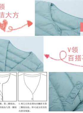 2020新款轻薄羽绒服女保暖内胆短款大码修身时尚外套秋冬女装圆领