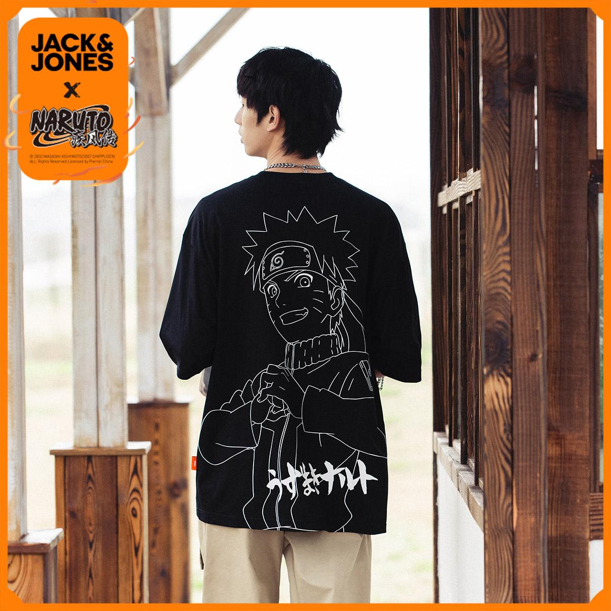 商场同款,火影忍者 鸣人联名款:杰克琼斯 男士 纯棉宽松短袖T恤