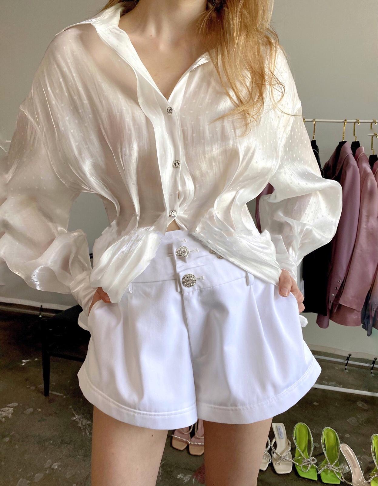 正品Nana Jacqueline 20新款江疏影同款法式性感浪漫真丝波点衬衫