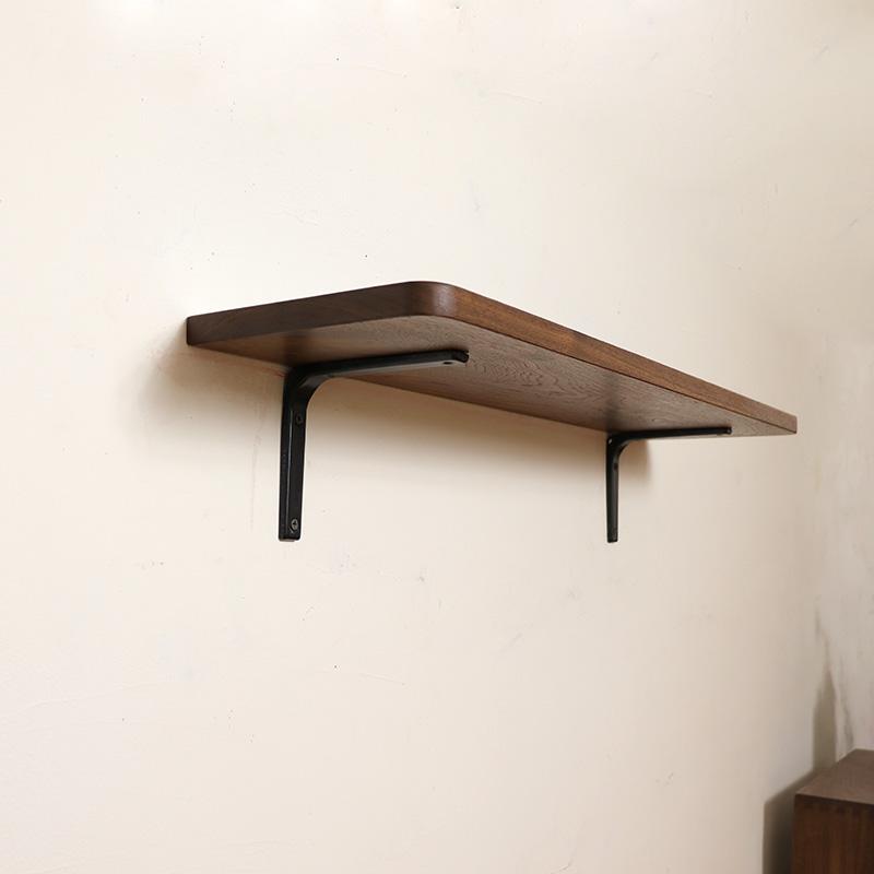 北欧黑胡桃原木一字隔板置物架墙上实木壁挂书架搁板打孔日式简约
