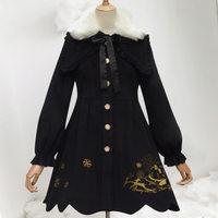 原创新款Lolita雪兔中长款加绒加厚保暖毛领呢洛丽塔大衣外套现货 (¥280)