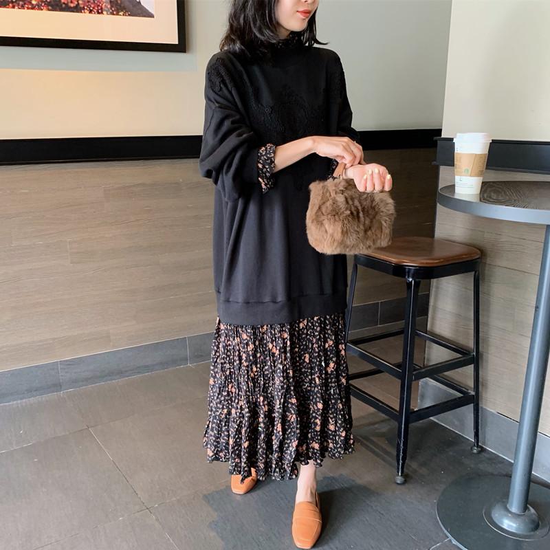 韩国东大门2020春秋新款打底裙中长款蕾丝拼接碎花裙摆卫衣连衣裙
