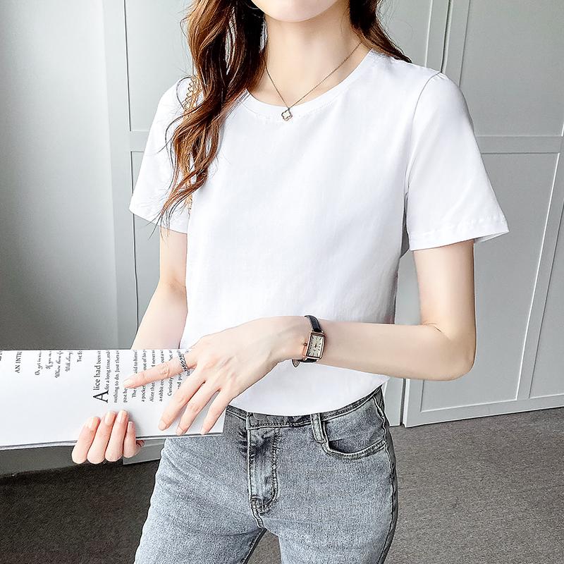 纯棉黑色t恤女短袖圆领2021新款宽松韩版夏装百搭打底体恤上衣潮主图