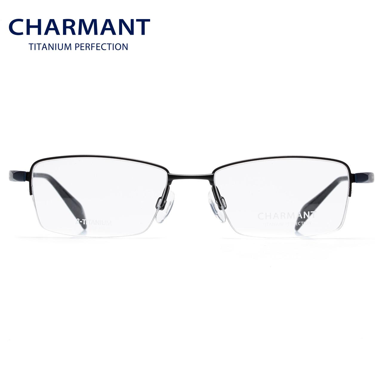 CHARMANT夏蒙眼镜架男士近视眼镜商务轻便钛合金半框镜框CH10322