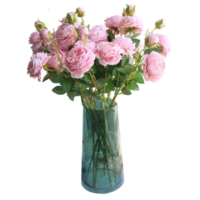 仿真花牡丹花玫瑰花束婚庆家居客厅落地装饰茶几假花绢花插花摆件