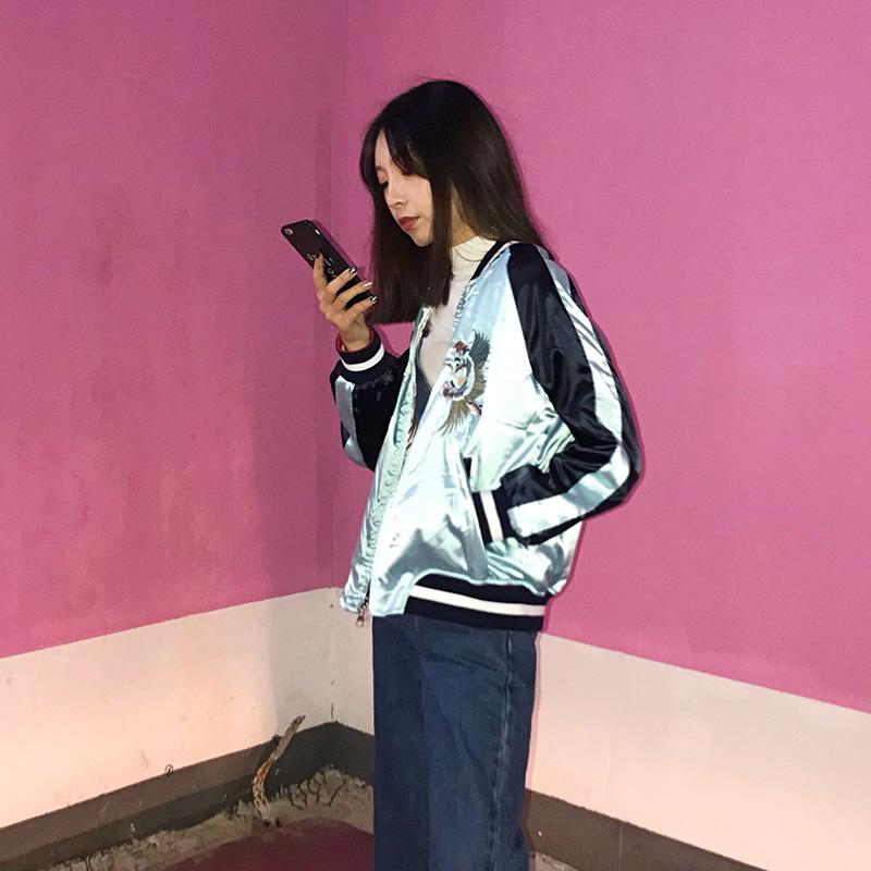 苏朵家横须贺仙鹤老虎富士山刺绣棒球服女19双面穿BF外套韩版夹克