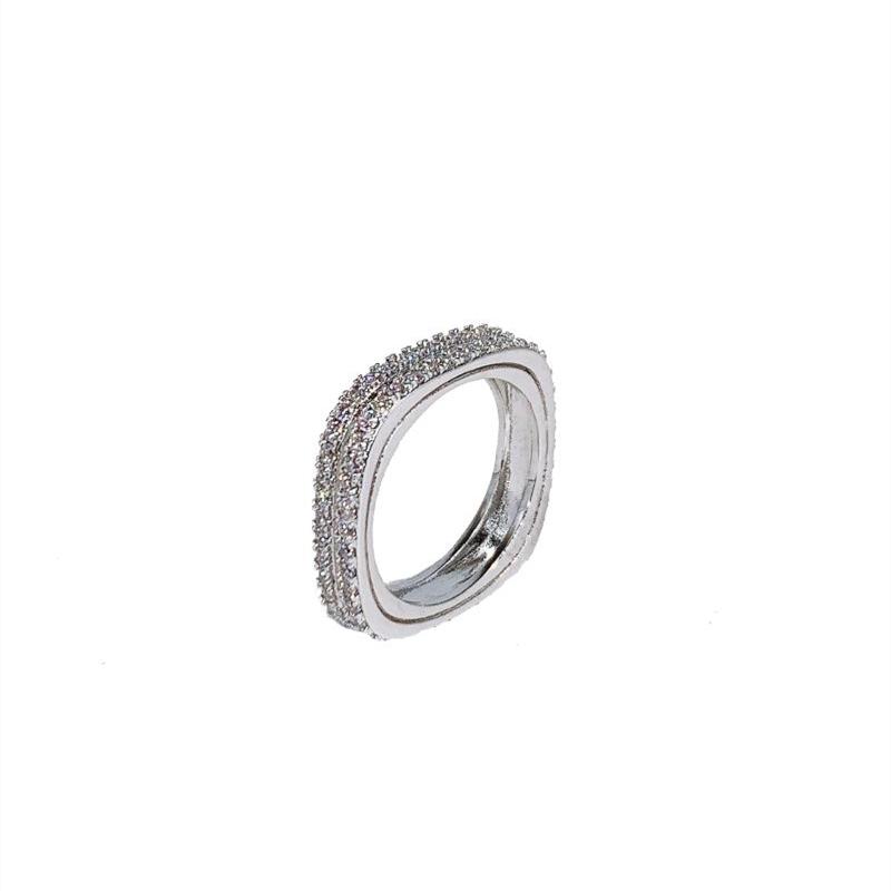 欧美ins风小众设计锆石微镶立体轻奢时尚达人网红方形工字戒指女