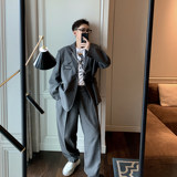 Weilian Wei chicken to be a high gray suit suit boy loose, casual men's trousers spring and summer three-piece shorts