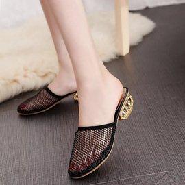 时尚新款包头半拖鞋女夏外穿百搭粗跟凉拖蕾丝网纱沙滩鞋女单鞋春
