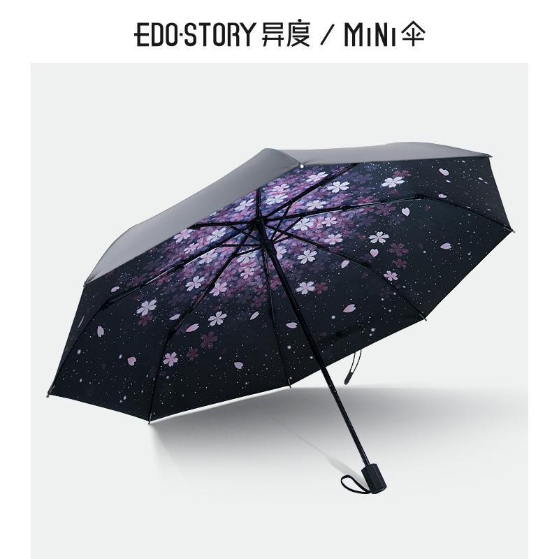 遮阳伞防晒防紫外线五折太阳伞晴雨伞女两用折叠超轻小黑伞 异度