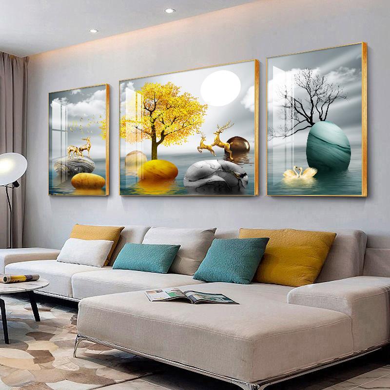 客厅现代装饰画沙发背景墙三联画简约墙画北欧挂画轻奢晶瓷画壁画 No.2