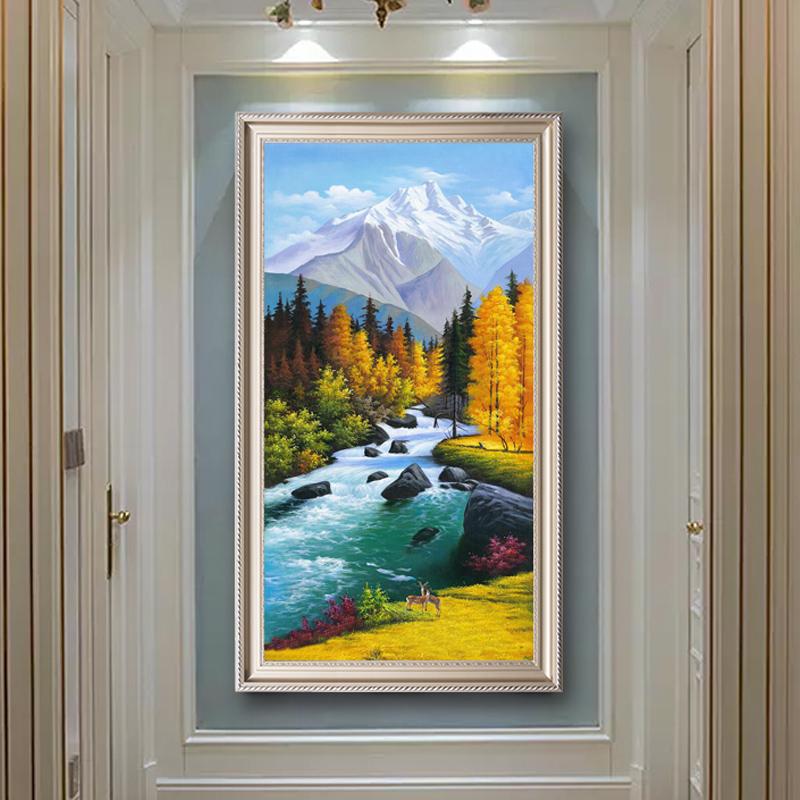 玄关油画竖版走廊入户过道装饰画北欧山水挂画原创纯手绘定制油画