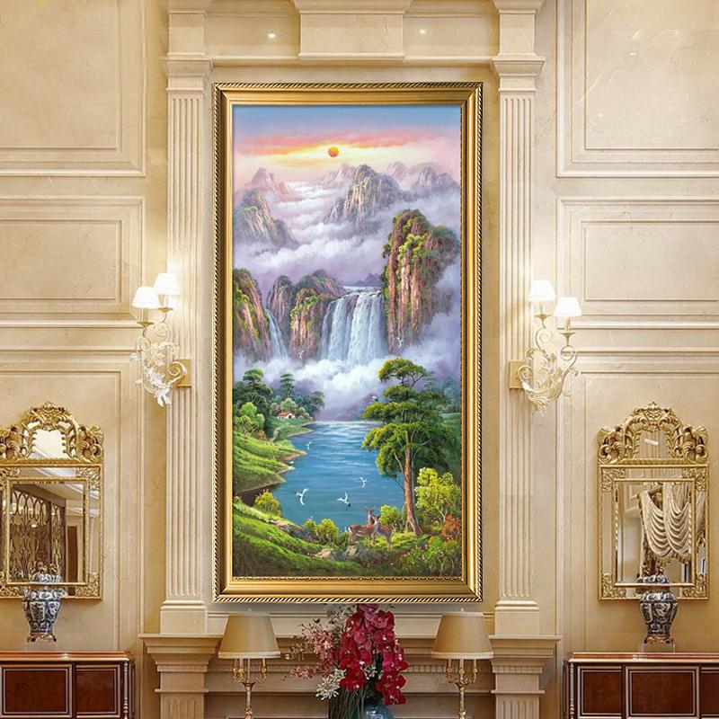 入戶玄關裝飾畫走廊過道掛畫鹿客廳招財風水進門風景山水豎版油畫