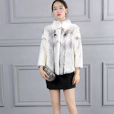Imported whole mink and mink fur coat women's slim fur coat short stand collar cross mink mink coat women