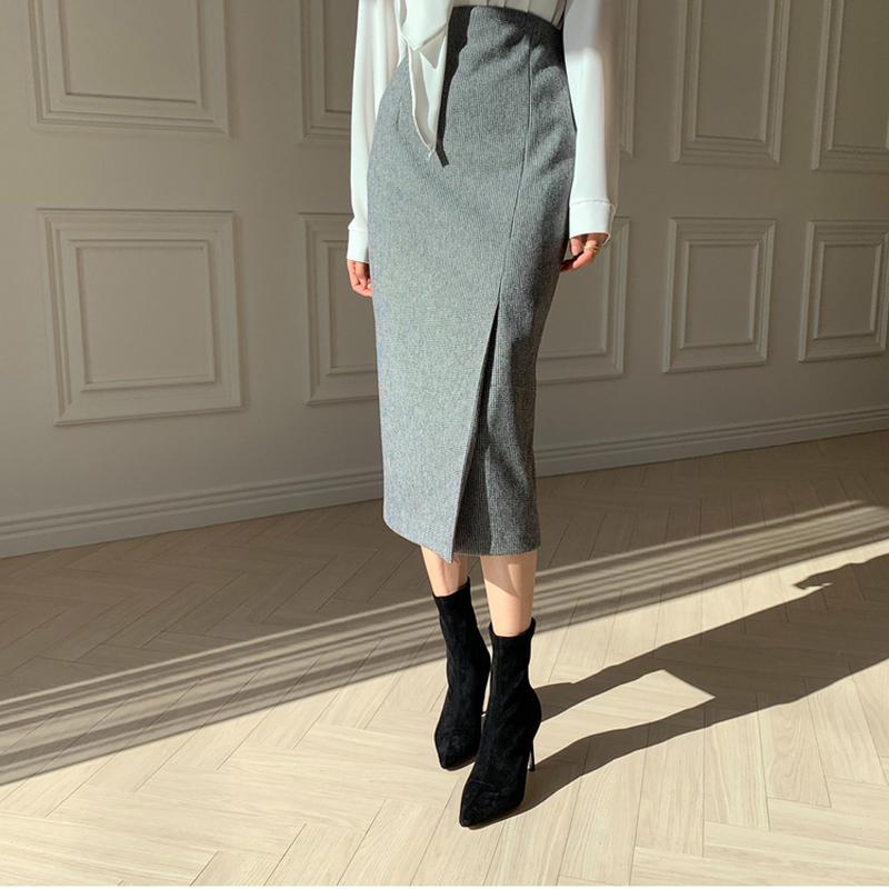秋冬新款半身裙包臀中长裙修身减龄中裙高腰一步裙不规则厚料女裙