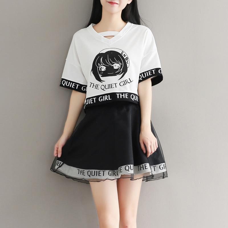 学院风两件套裙子夏季2019新款学生连衣裙少女夏装小清新套装短裙