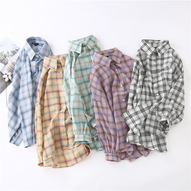 春季韩版中长款BF风白色格子衬衫薄外套上衣长袖防晒衣开衫女