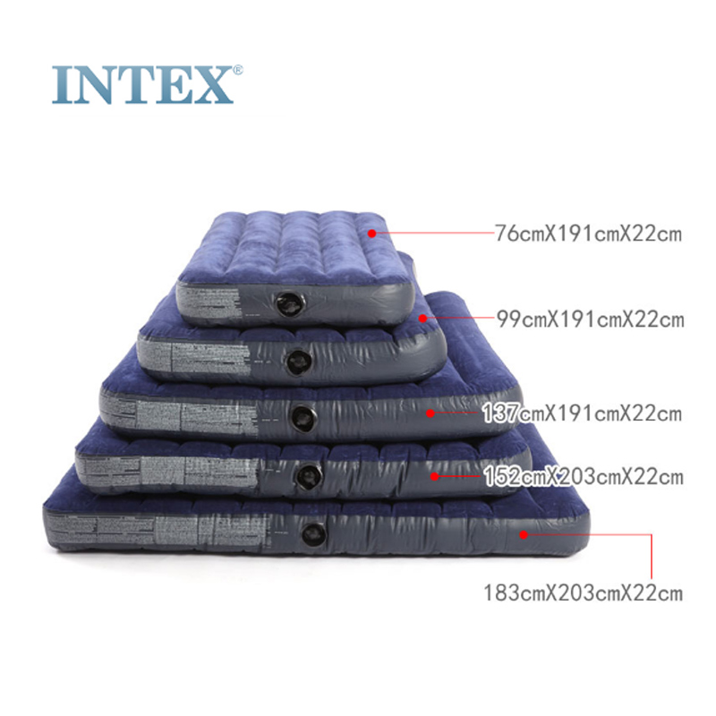 intex充气床单人便携简易户外折叠床气垫床双人家用加厚车载床垫