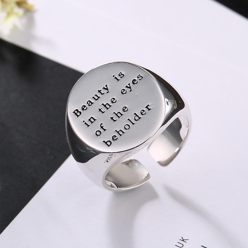 专柜品牌关节饰品民族风食指钛钢戒指刻字女开口指环全新纯银韩版