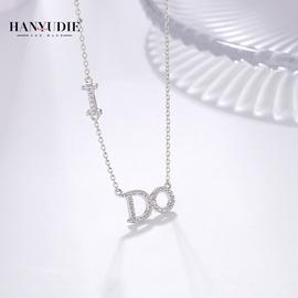 镶施华洛世奇锆字母项链女小众ins轻奢品牌简约纯银锁骨链高级感
